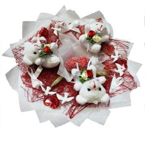 Букет Белые мишки