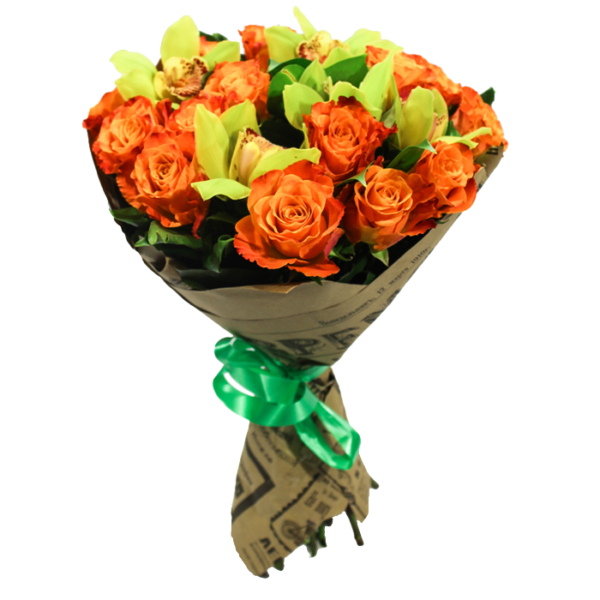 Букет из 15 роз и орхидей